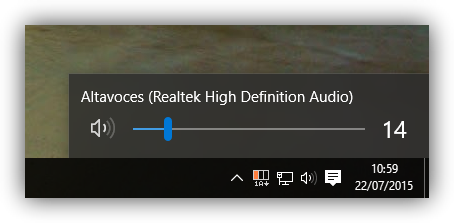 Control de volumen de Windows 10