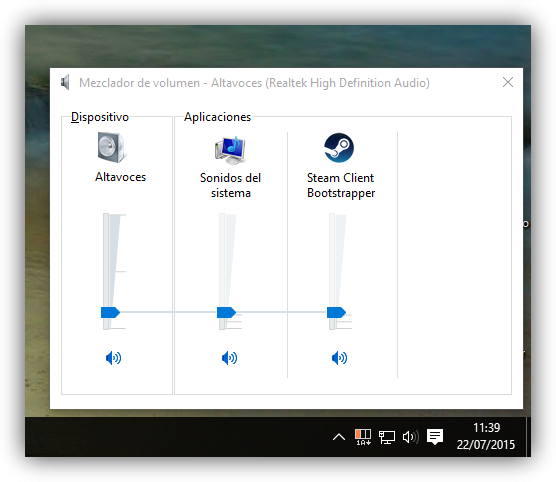 Control de volumen específico de Windows 10