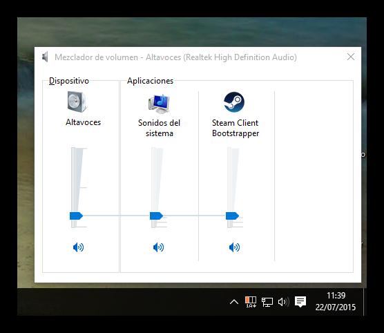 Control de volumen específico de Windows 10
