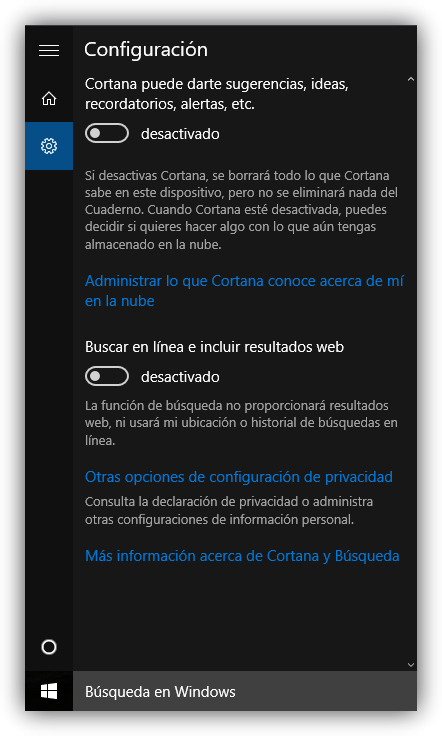 Desactivar resultados Bing Cortana Windows 10
