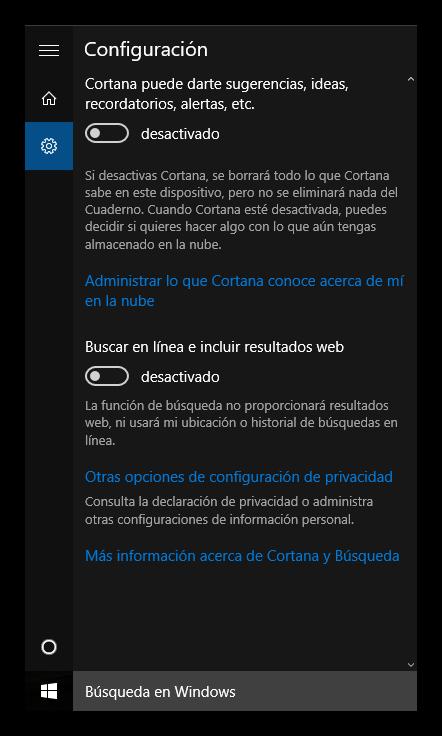 Desactivar resultados Bing Cortana Windows 10