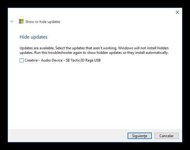 Elegir las actualizaciones de Windows 10 que no queremos instalar