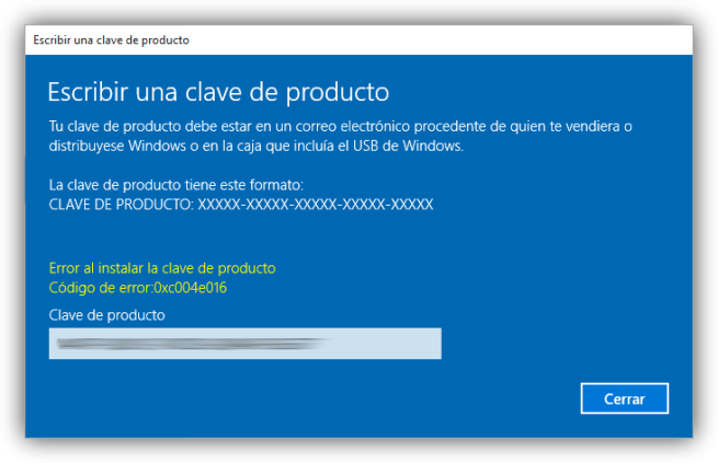 Error cambiar clave windows 10 foto