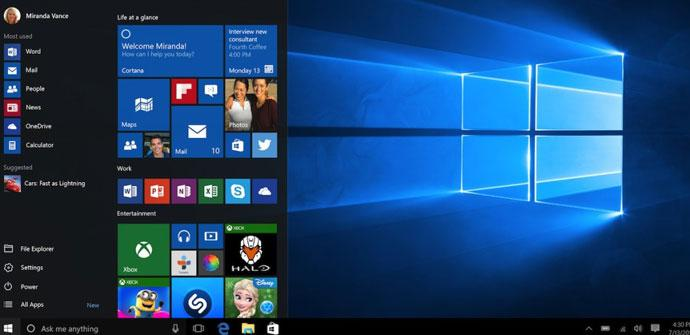 El último empaquetado de Windows 10
