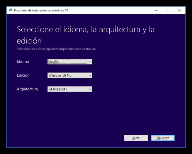 Elegir idioma, versión y arquitectura para descargar Windows 10