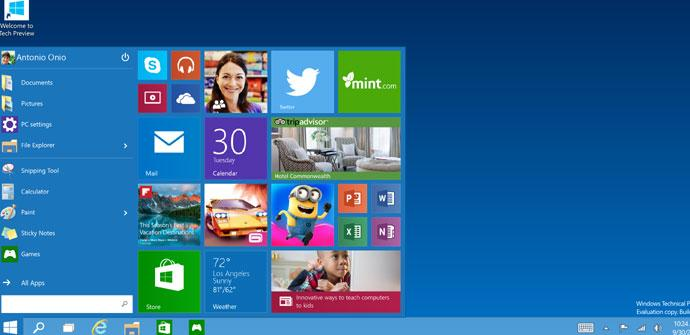 Pantalla principal de Windows 10