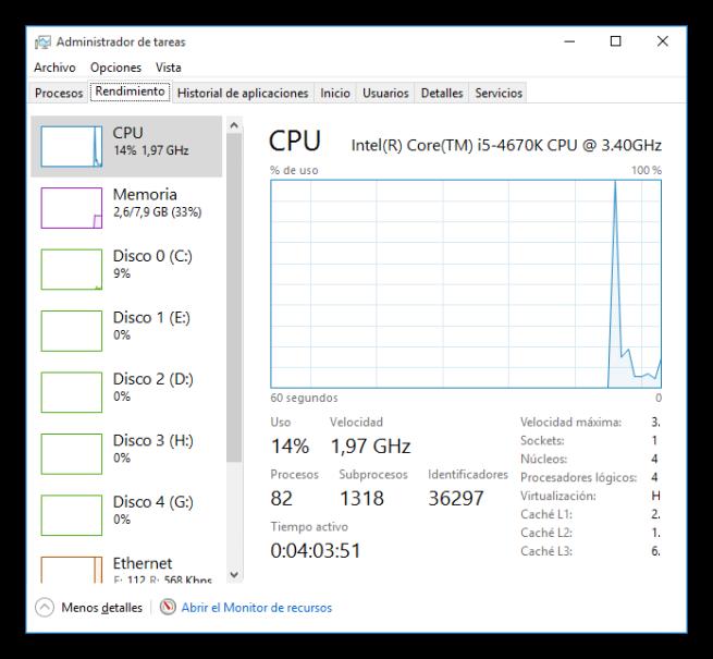 Consumo de recursos de Windows 10