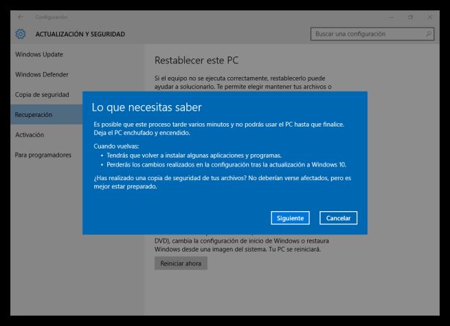 Advertencias al desinstalar Windows 10