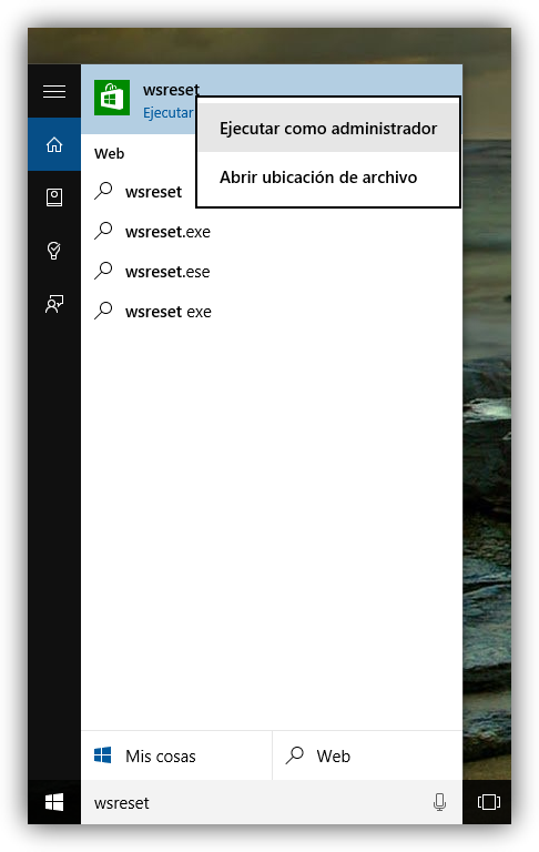Comando para borrar la caché de la Windows Store en Windows 10