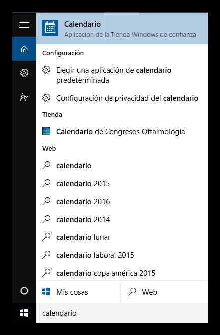 Buscar la aplicación de calendario en Windows 10
