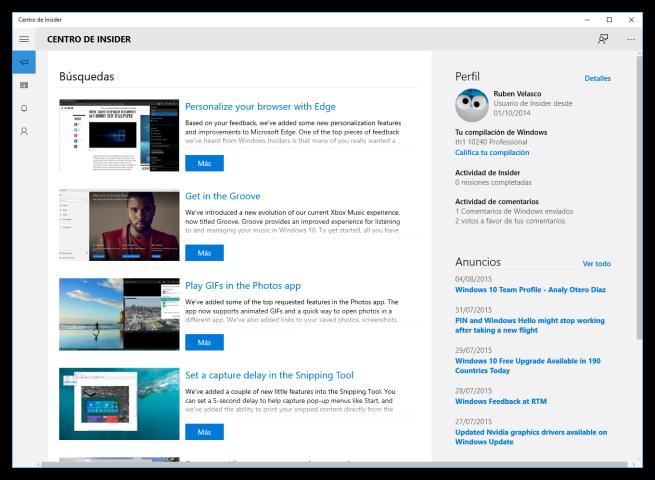 Centro de Insider de Windows 10