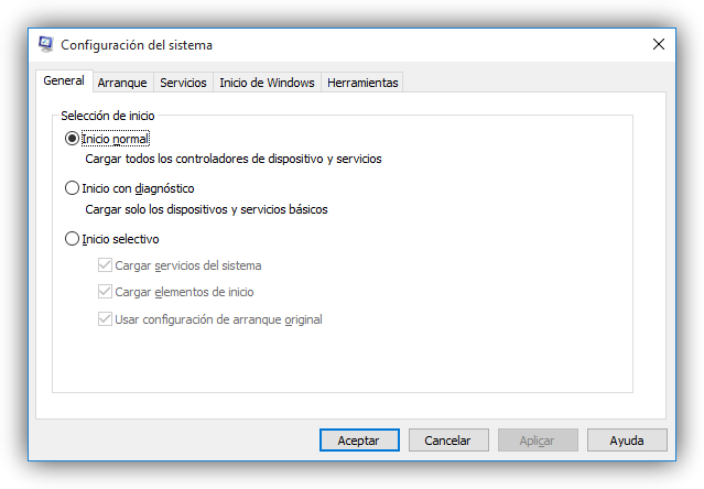 Ventana principal de Msconfig en Windows 10