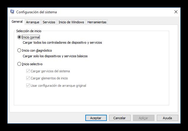 Ventana principal de Msconfig en Windows 10