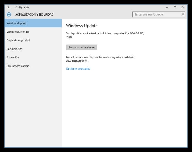 Configurar Windows Update en Windows 10