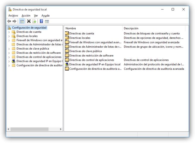 Directiva de seguridad de Windows 10