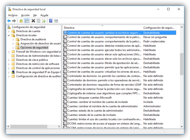 Windows 10 - controlar el comportamiento de UAC