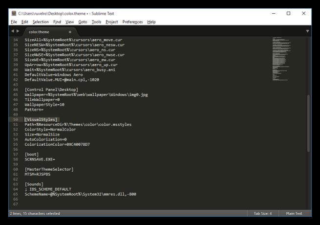 Editar las preferencias de un tema en Windows 10