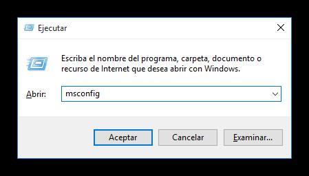 Ejecutar la configuración del sistema Msconfig en Windows 10