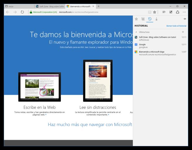 Historial de Microsoft Edge