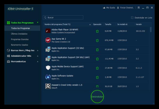 Lista de aplicaciones en IObit Uninstaller