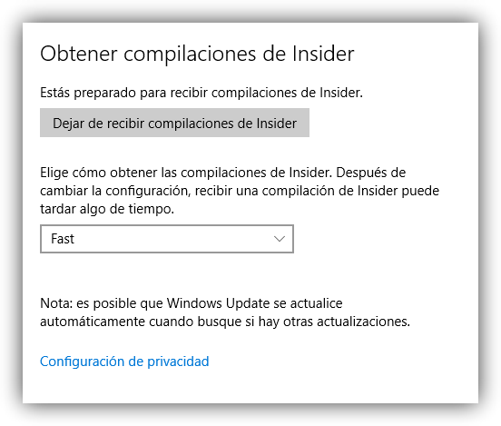 Opciones de Windows Insider