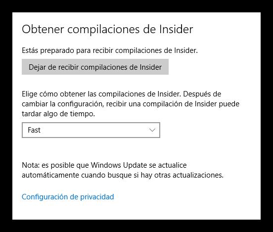 Opciones de Windows Insider