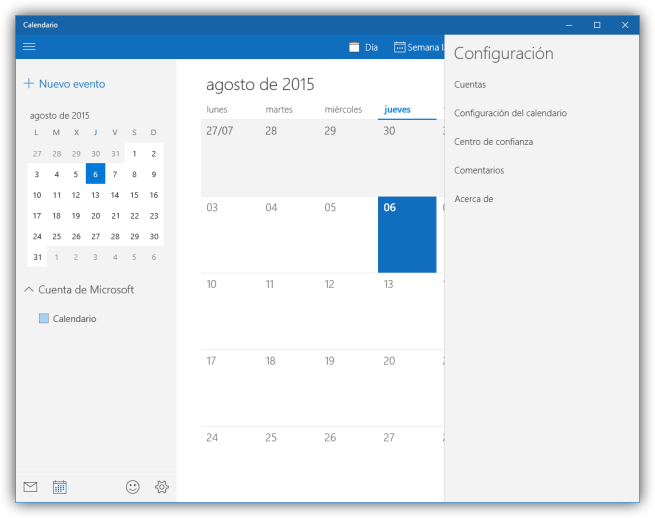 Opciones de configuración del calendario de Windows 10