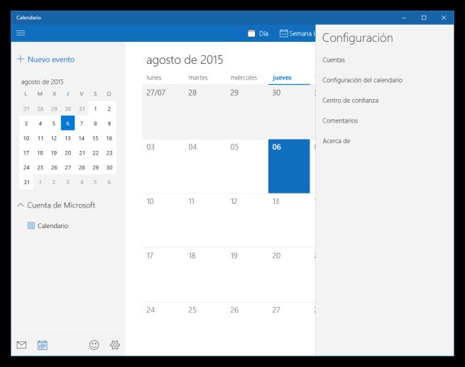 Opciones de configuración del calendario de Windows 10