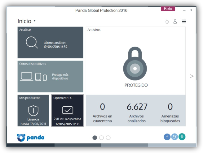 ventana de Panda Global Protection 2016