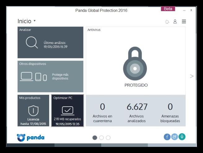 ventana de Panda Global Protection 2016