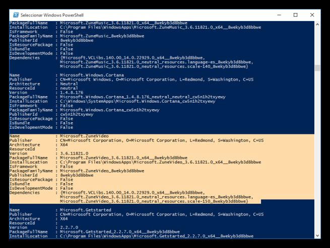PowerShell seleccionar aplicacion core de Windows 10