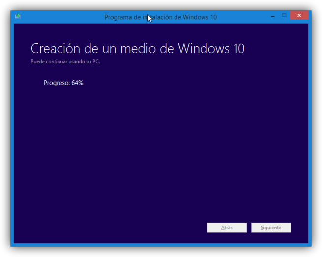 Creando medio de actualización de Windows 10