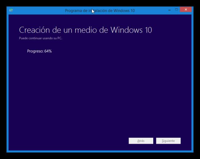 Creando medio de actualización de Windows 10