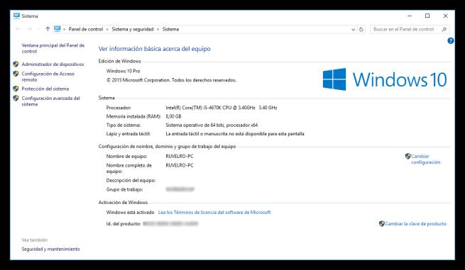 Propiedades de Windows 10