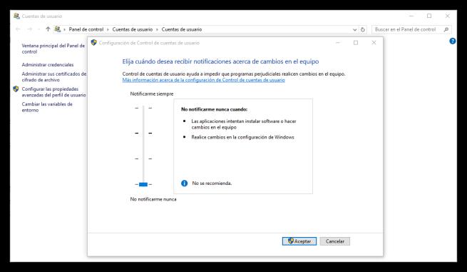 Desactivar UAC en Windows 10
