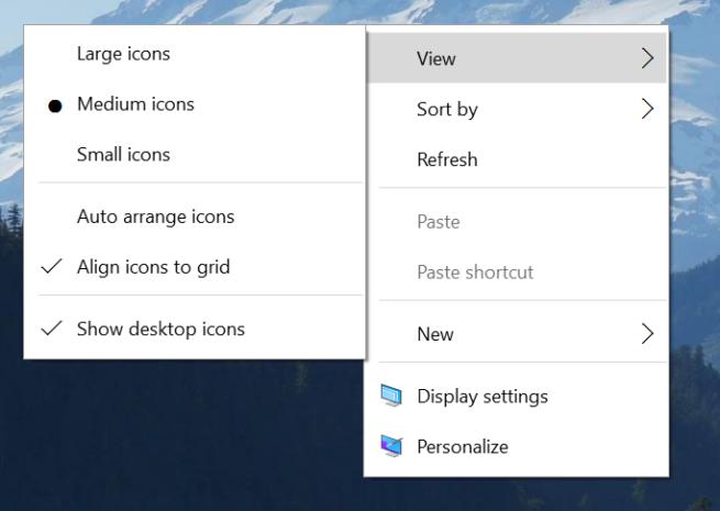 menú contextual renovado en Windows 10