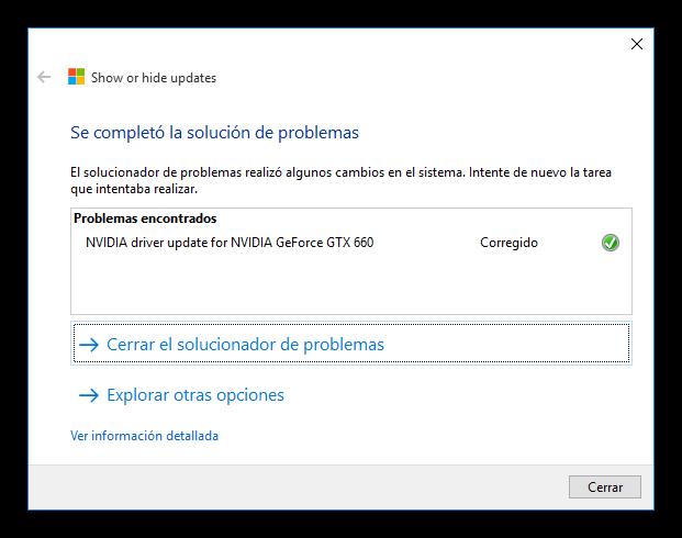 Actualización del controlador de Nvidia bloqueada