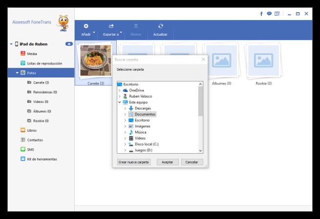 Aiseesoft FoneTrans exportar fotos al PC