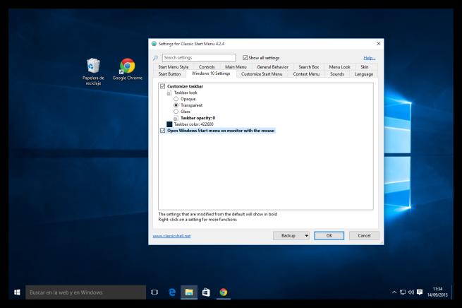 Barra de tareas transparente en Windows 10