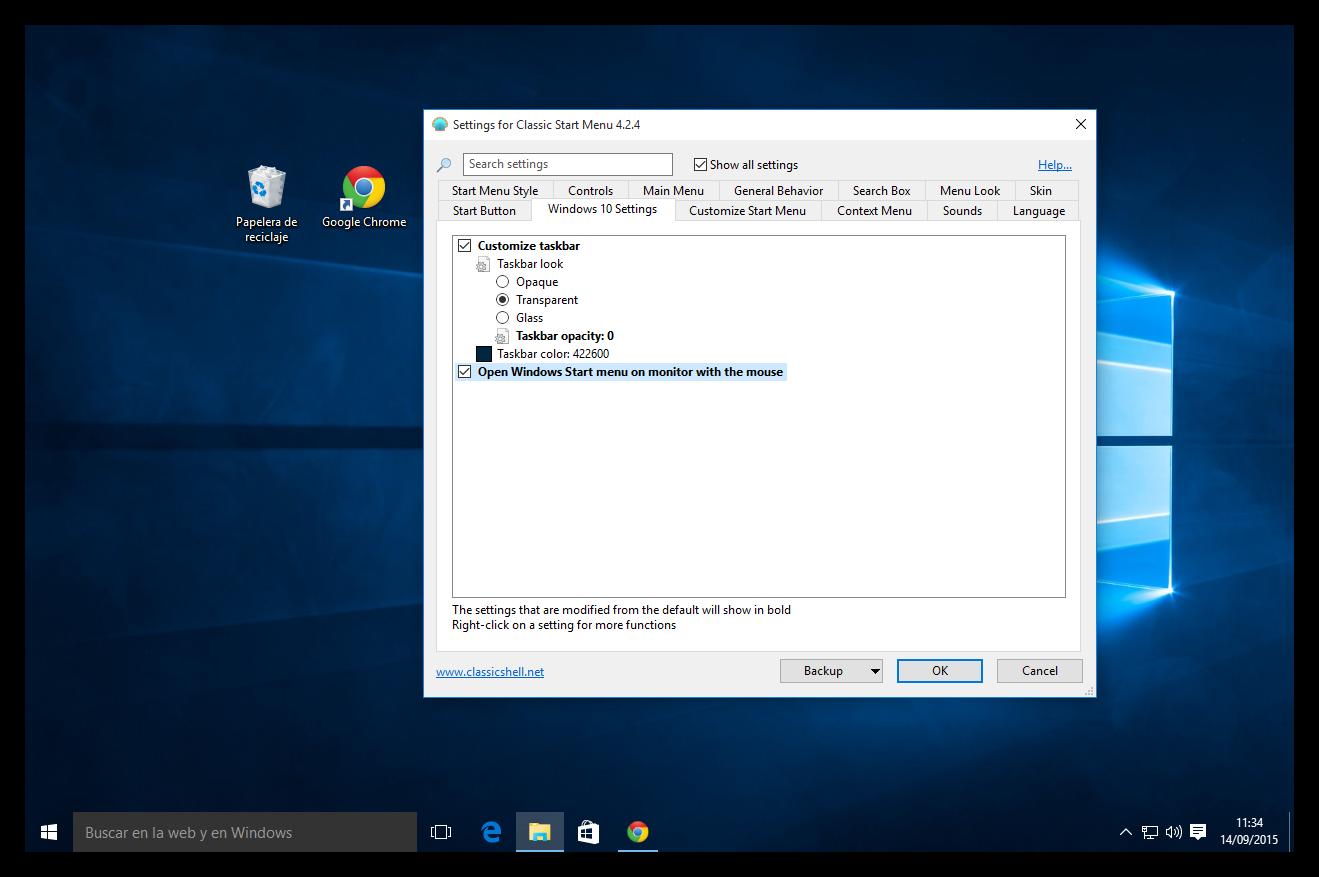Cómo hacer que la barra de tareas de Windows 10 sea 100% transparente