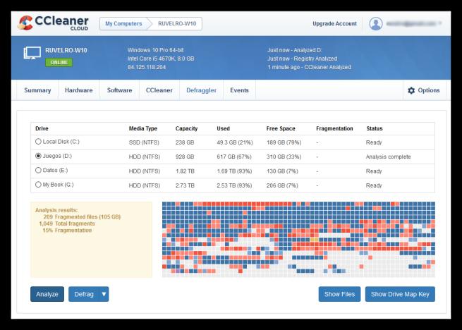 CCleaner Cloud - desfragmentar