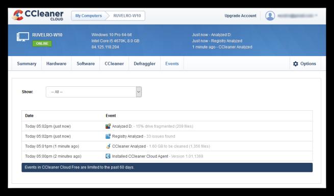 CCleaner Cloud -resumen de eventos
