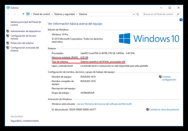 Comprobar memoria ram y tipo de arquitectura de Windows