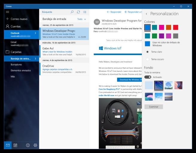 Nueva App Correo de Windows 10