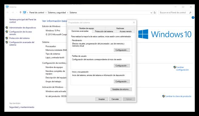 Opciones de configuracion avanzada de Windows 10
