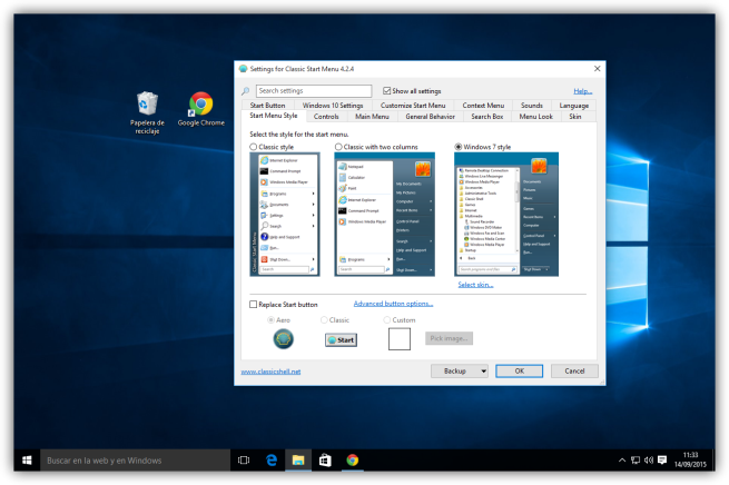 Windows 10 y configuracion de ClassicShell