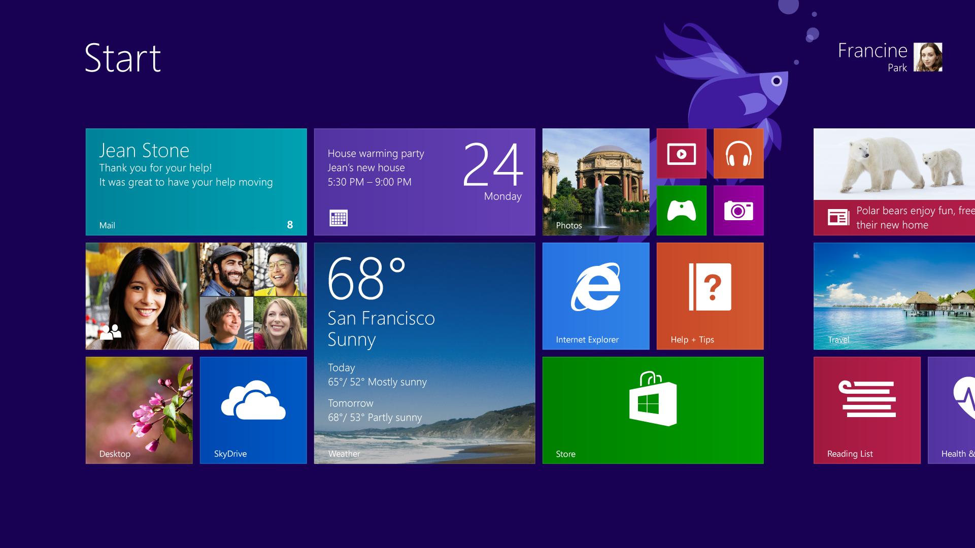 Interfaz de Windows 8.1 RT