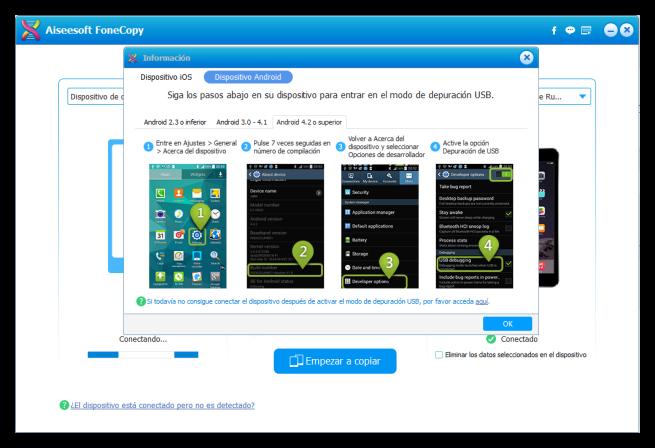 Aiseesoft FoneCopy - pasos intermedios