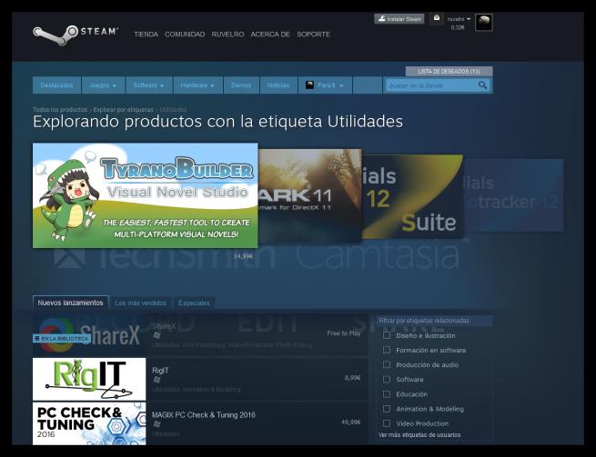 Aplicaciones y software en Steam