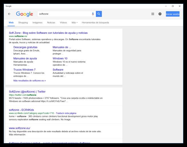 Buscar en la App de Google para Windows 10